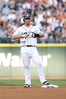 July 5, 2008:  The Seattle Mariners' Jeremy Reed takes off his batting gloves after stroking a double against the Detroit Tigers at Safeco Field in Seattle, Washington.