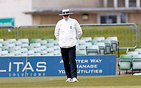 Bitterly cold conditions at Canterbury sees the umpires well protected during Kent CCC vs Lancashire CCC, LV Insurance County Championship Group 3 Cricket at The Spitfire Ground on 25th April 2021