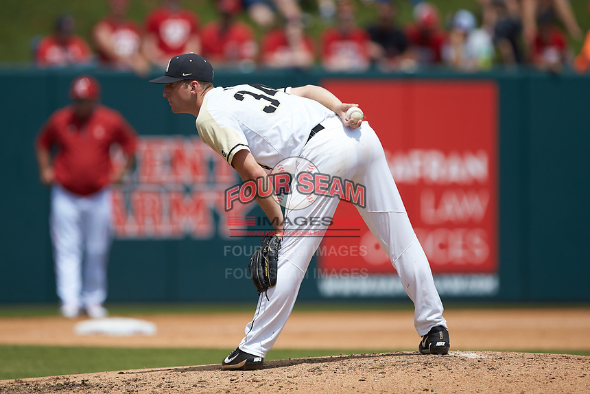 Army Black Knights starting pitcher Matt Ball (34) looks to his catcher for the sign against the North Carolina State Wolfpack at Doak Field at Dail Park on June 3, 2018 in Raleigh, North Carolina. The Wolfpack defeated the Black Knights 11-1. (Brian Westerholt/Four Seam Images)