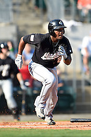 San Antonio Missions outfielder Rymer Liriano (23) runs to first during a game against the Arkansas Travelers on May 25, 2014 at Dickey-Stephens Park in Little Rock, Arkansas.  Arkansas defeated San Antonio 3-1.  (Mike Janes/Four Seam Images)