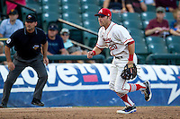Wearing an Austin Senators throwback uniform, Round Rock Express third baseman Mike Olt (20) on defense during the Pacific Coast League baseball game against the Oklahoma City RedHawks on July 9, 2013 at the Dell Diamond in Round Rock, Texas. Round Rock defeated Oklahoma City 11-8. (Andrew Woolley/Four Seam Images)