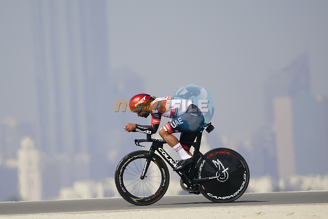 Fernando Gaviria (COL) UAE Team Emirates during Stage 2 of the 2021 UAE Tour an individual time trial running 13km around  Al Hudayriyat Island, Abu Dhabi, UAE. 22nd February 2021.  <br /> Picture: Eoin Clarke | Cyclefile<br /> <br /> All photos usage must carry mandatory copyright credit (© Cyclefile | Eoin Clarke)
