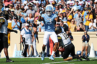CHAPEL HILL, NC - SEPTEMBER 21: Dominique Ross #3 of the University of North Carolina celebrates after sacking Zac Thomas #12 of Appalachian State University during a game between Appalachian State University and University of North Carolina at Kenan Memorial Stadium on September 21, 2019 in Chapel Hill, North Carolina.