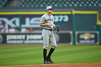 Connor Kaiser (12) of the Vanderbilt Commodores on defense against the Louisiana Ragin' Cajuns in game five of the 2018 Shriners Hospitals for Children College Classic at Minute Maid Park on March 3, 2018 in Houston, Texas.  The Ragin' Cajuns defeated the Commodores 3-0.  (Brian Westerholt/Four Seam Images)