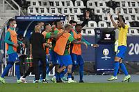 2nd July 2021; Nilton Santos Stadium, Rio de Janeiro, Brazil; Copa America, Brazil versus Chile; Lucas Paquetá of Brazil celebrates his goal in the 46th minute 1-0