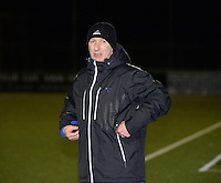 20140221 - OOSTAKKER , BELGIUM : Antwerp coach Wim Hofkens pictured during the soccer match between the women teams of AA Gent Ladies  and RAFC Antwerp Ladies , on the 19th matchday of the BeNeleague competition Friday 21 February 2014 in Oostakker. PHOTO DAVID CATRY