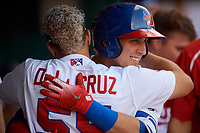 Buffalo Bisons Andy Burns (9) hugs Michael De La Cruz (55) after hitting a home run during an International League game against the Syracuse Mets on June 29, 2019 at Sahlen Field in Buffalo, New York.  Buffalo defeated Syracuse 9-3.  (Mike Janes/Four Seam Images)