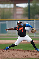 Derrick Newman (2) of Bishop O'Connell High School in Fort Washington, Maryland during the Under Armour All-American Pre-Season Tournament presented by Baseball Factory on January 15, 2017 at Sloan Park in Mesa, Arizona.  (Kevin C. Cox/MJP/Four Seam Images)