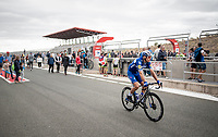 (eventual stage winner) Philippe Gilbert (BEL/Deceuninck-Quickstep) at the race start at the Navarra moto race circuit<br /> <br /> Stage 12: Circuito de Navarra to Bilbao (171km)<br /> La Vuelta 2019<br /> <br /> ©kramon
