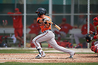 Baltimore Orioles Alexis Torres (3) bats during a Minor League Spring Training game against the Boston Red Sox on March 20, 2019 at the Buck O'Neil Baseball Complex in Sarasota, Florida.  (Mike Janes/Four Seam Images)