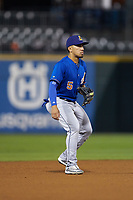 Durham Bulls third baseman Kean Wong (5) on defense against the Charlotte Knights at BB&T BallPark on July 31, 2019 in Charlotte, North Carolina. The Knights defeated the Bulls 9-6. (Brian Westerholt/Four Seam Images)