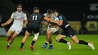 8th October 2021;  Swansea.com Stadium, Swansea, Wales; United Rugby Championship, Ospreys versus Sharks; James Venter of Cell C Sharks is tackled by Luke Morgan and Owen Watkin of Ospreys