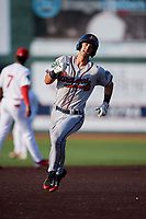 Danville Braves third baseman Brett Langhorne (23) runs the bases during a game against the Johnson City Cardinals on July 29, 2018 at TVA Credit Union Ballpark in Johnson City, Tennessee.  Johnson City defeated Danville 8-1.  (Mike Janes/Four Seam Images)