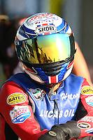 May 17, 2014; Commerce, GA, USA; NHRA pro stock motorcycle rider Hector Arana Sr during qualifying for the Southern Nationals at Atlanta Dragway. Mandatory Credit: Mark J. Rebilas-USA TODAY Sports