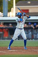 Shervyen Newton (12) of the Kingsport Mets at bat against the Burlington Royals at Burlington Athletic Stadium on July 27, 2018 in Burlington, North Carolina. The Mets defeated the Royals 8-0.  (Brian Westerholt/Four Seam Images)