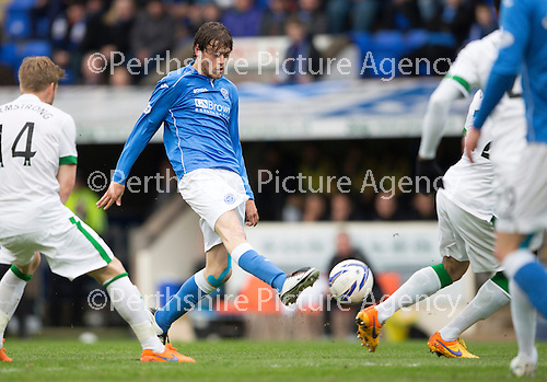 St Johnstone v Celtic...15.05.15   SPFL<br /> Murray Davidson's shot produces a fingertip save from Zaluska<br /> Picture by Graeme Hart.<br /> Copyright Perthshire Picture Agency<br /> Tel: 01738 623350  Mobile: 07990 594431