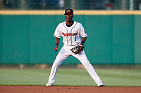 Rochester Red Wings second baseman Nick Gordon (1) during a game against the Lehigh Valley IronPigs on June 30, 2018 at Frontier Field in Rochester, New York.  Lehigh Valley defeated Rochester 6-2.  (Mike Janes/Four Seam Images)