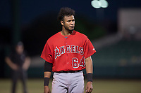 AZL Angels third baseman Bernabe Camargo (64) during an Arizona League game against the AZL Athletics at Tempe Diablo Stadium on June 26, 2018 in Tempe, Arizona. The AZL Athletics defeated the AZL Angels 7-1. (Zachary Lucy/Four Seam Images)