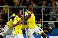 MOSCU - RUSIA, 03-07-2018: Yerry MINA (#13) jugador de Colombia celebra después de anotar el primer gol de su equipo a Inglaterra durante partido de octavos de final por la Copa Mundial de la FIFA Rusia 2018 jugado en el estadio del Spartak en Moscú, Rusia. / Yerry MINA (#13) player of Colombia celebrates after scoring the  first goal of his team to Inglaterra during match of the round of 16 for the FIFA World Cup Russia 2018 played at Spartak stadium in Moscow, Russia. Photo: VizzorImage / Julian Medina / Cont