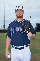 San Diego Padres 2 pitcher Dominic Taccolini (48) poses for a photo before an Arizona League game against the AZL Padres 1 at Peoria Sports Complex on July 14, 2018 in Peoria, Arizona. The AZL Padres 1 defeated the AZL Padres 2 4-0. (Zachary Lucy/Four Seam Images)