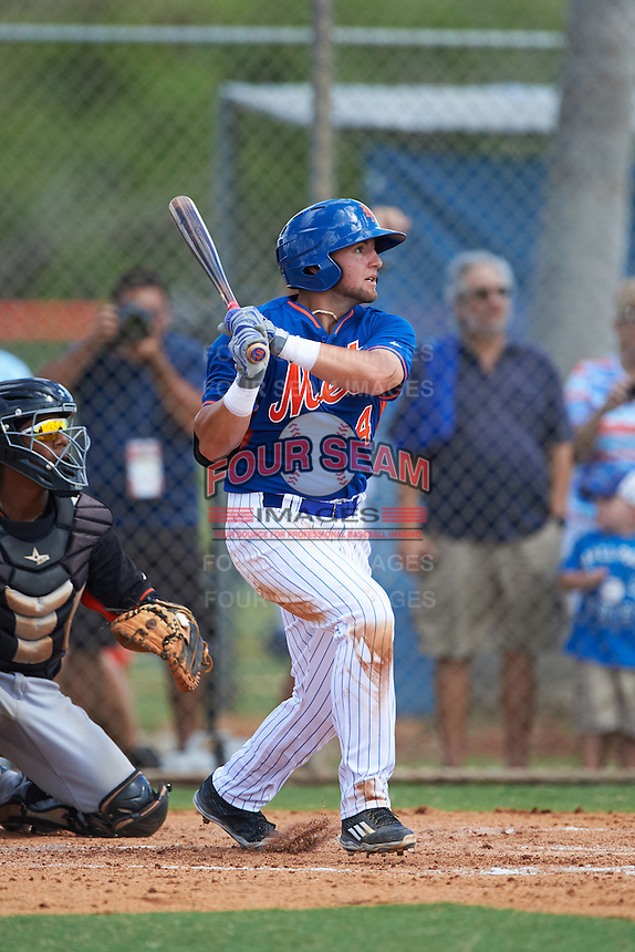 New York Mets third baseman Blake Tiberi (4) during an Instructional League game against the Miami Marlins on September 29, 2016 at the Port St. Lucie Training Complex in Port St. Lucie, Florida.  (Mike Janes/Four Seam Images)