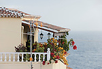 Spain, Canary Islands, La Palma, San Andres: flower decorated balcony