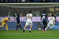 gol Mattia Destro Roma 1-2.Goal celebration.Milano 17/04/2013 Stadio San Siro Giuseppe Meazza .Football Calcio Coppa Italia Semifinale .Inter Roma 2-3 .foto Daniele Buffa/Image Sport/Insidefoto.