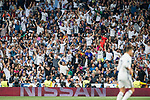 Fans of Real Madrid wave and cheer for their team during their 2016-17 UEFA Champions League Semifinals 1st leg match between Real Madrid and Atletico de Madrid at the Estadio Santiago Bernabeu on 02 May 2017 in Madrid, Spain. Photo by Diego Gonzalez Souto / Power Sport Images