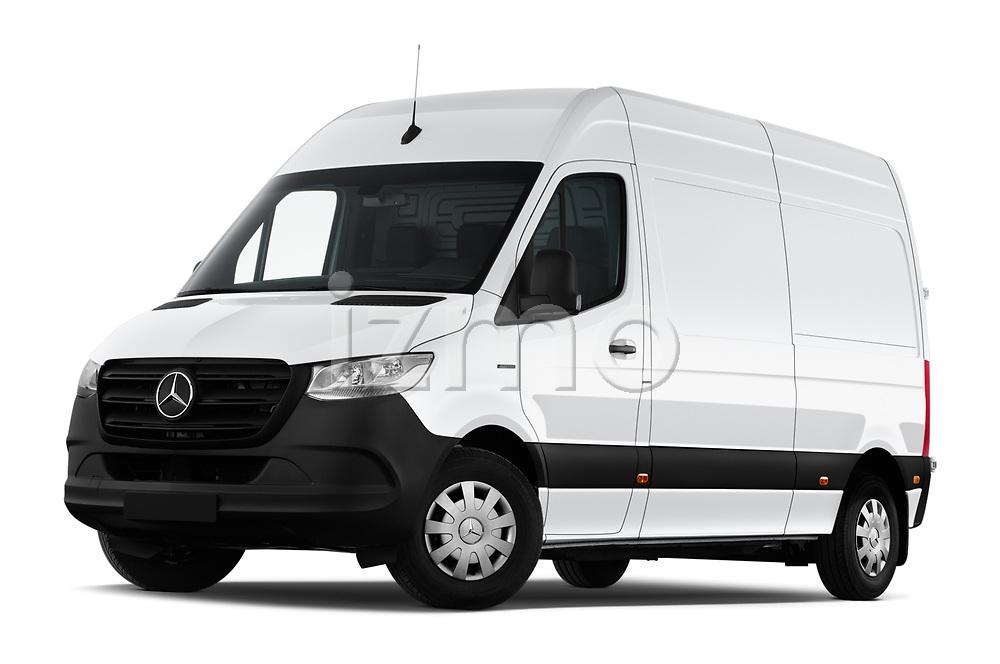 Stock pictures of low aggressive front three quarter view of 2021 Mercedes Benz eSprinter - 4 Door Cargo Van Low Aggressive