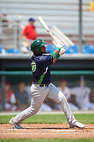 Vermont Lake Monsters third baseman Jesus Lopez (9) at bat during a game against the Auburn Doubledays on July 13, 2016 at Falcon Park in Auburn, New York.  Auburn defeated Vermont 8-4.  (Mike Janes/Four Seam Images)