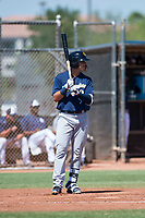 Milwaukee Brewers outfielder Anderson Melendez (94) at bat during an Instructional League game against the San Diego Padres at Peoria Sports Complex on September 21, 2018 in Peoria, Arizona. (Zachary Lucy/Four Seam Images)