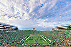 September 1, 2018; Four F-15E Strike Eagle aircraft fly over Notre Dame Stadium before the game against Michigan. (Photo by Matt Cashore)