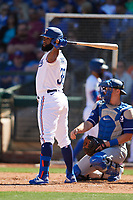 Danny Santana (38) of the Texas Rangers at bat during a Cactus League Spring Training game against the Los Angeles Dodgers on March 8, 2020 at Surprise Stadium in Surprise, Arizona. Rangers defeated the Dodgers 9-8. (Tracy Proffitt/Four Seam Images)