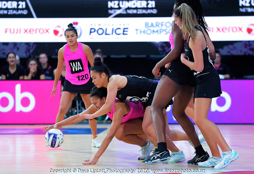 Aliyah Dunn and Taneisha Fifita compete for the ball during the Cadbury Netball Series match between NZ A and NZ Under-21 at the Fly Palmy Arena in Palmerston North, New Zealand on Saturday, 24 October 2020. Photo: Dave Lintott / lintottphoto.co.nz