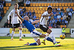 St Johnstone v Lask…26.08.21  McDiarmid Park    Europa Conference League Qualifier<br />Chris Kane is denied by Andres Andrade<br />Picture by Graeme Hart.<br />Copyright Perthshire Picture Agency<br />Tel: 01738 623350  Mobile: 07990 594431