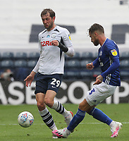Preston North End's Tom Barkuizen in action with Cardiff City's Joe Bennett<br /> <br /> Photographer Mick Walker/CameraSport<br /> <br /> The EFL Sky Bet Championship - Preston North End v Cardiff  City - Saturday 27th June 2020 - Deepdale Stadium - Preston<br /> <br /> World Copyright © 2020 CameraSport. All rights reserved. 43 Linden Ave. Countesthorpe. Leicester. England. LE8 5PG - Tel: +44 (0) 116 277 4147 - admin@camerasport.com - www.camerasport.com