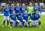 St Johnstone v FC Minsk...08.08.13 Europa League Qualifier<br /> Back row from left, Stevie May, Gary McDonald, Frazer Wright, Steven Anderson, Alan Mannus and Dave Mackay.<br /> Front row from left, David Wotherspoon, Nigel Hasselbaink, Tom Scobbie, Paddy Cregg and Steven MacLean.<br /> Picture by Graeme Hart.<br /> Copyright Perthshire Picture Agency<br /> Tel: 01738 623350  Mobile: 07990 594431
