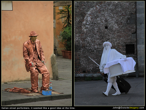 Italy, Milan.  Street photography. <br /> It seemed like a good idea at the time. At least street performers should be used to being photographed. And, they may end up on social media, go viral, become famous . . .<br /> Bronze man from Pisa and Cotton man from Milan.