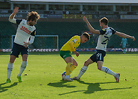 Preston North End's Tom Barkhuizen (right) battles for possession with Norwich City's Max Aarons (centre)<br /> <br /> Photographer David Horton/CameraSport<br /> <br /> The EFL Sky Bet Championship - Norwich City v Preston North End - Saturday 19th September 2020 - Carrow Road - Norwich<br /> <br /> World Copyright © 2020 CameraSport. All rights reserved. 43 Linden Ave. Countesthorpe. Leicester. England. LE8 5PG - Tel: +44 (0) 116 277 4147 - admin@camerasport.com - www.camerasport.com