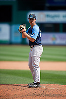 Trenton Thunder relief pitcher Chase Hodson (24) gets ready to deliver a pitch during a game against the Hartford Yard Goats on August 26, 2018 at Dunkin' Donuts Park in Hartford, Connecticut.  Trenton defeated Hartford 8-3.  (Mike Janes/Four Seam Images)