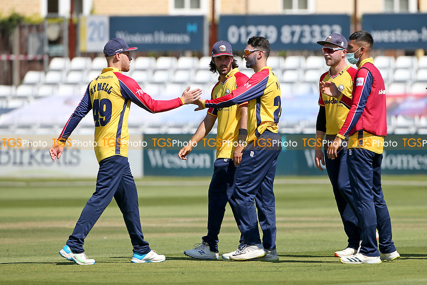 Aron Nijjar of Essex celebrates with his team mates after taking the wicket of Sam Robson during Essex Eagles vs Middlesex, Vitality Blast T20 Cricket at The Cloudfm County Ground on 18th July 2021