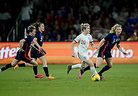 ORLANDO, FL - MARCH 05: Lauren Hemp #20 of England moves with the ball during a game between England and USWNT at Exploria Stadium on March 05, 2020 in Orlando, Florida.