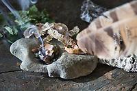 Räuchern mit Birkenrinde, Birkenblättern und Räucherkohle, Räucherritual, Räuchern mit Kräutern, Kräuter verräuchern, Wildkräuter, Duftkräuter, Duft, Stein als Räuchergefäß, Smoking with herbs, wild herbs, aromatic herbs, fumigate, cure, censer, incense burner, perfume burner. Birken-Rinde, Birkenrinde, Rinde, Blatt, Blätter, Hänge-Birke, Sand-Birke, Birke, Hängebirke, Sandbirke, Weißbirke, Betula pendula, European White Birch, Silver Birch, Birch, warty birch, rind, bark, leaf, leaves, Le bouleau verruqueux, bouleau blanc