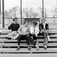 Portraits exterieur des humoriste s Daniel Lemire, Pierre Verville, Michel Cimon et ? vers 1983<br /> <br /> PHOTO :  Agence Quebec Presse