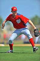 24 February 2012: Washington Nationals' pitcher Stephen Strasburg takes infield drills at the Carl Barger Baseball Complex in Viera, Florida. Mandatory Credit: Ed Wolfstein Photo
