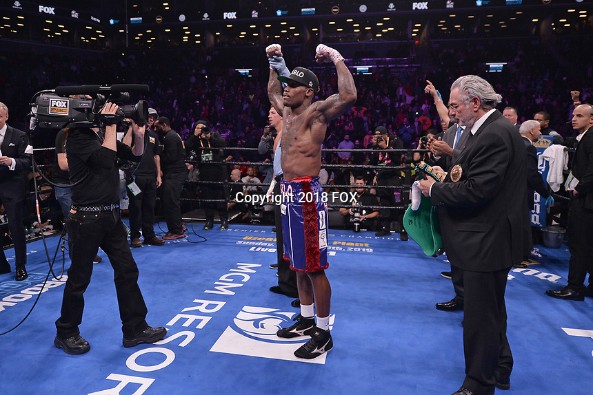 """BROOKLYN, NY - DECEMBER 22: American boxer Jermall Charlo reacts after defeating Russian boxer Matt Korobov (not pictured) for the WBC Interim Middleweight Championship during the Fox Sports and Premier Boxing Champions  December 22 """"PBC on Fox"""" Fight Night at the Barclays Center on December 22, 2018 in Brooklyn, New York. (Photo by Anthony Behar/Fox Sports/PictureGroup)"""