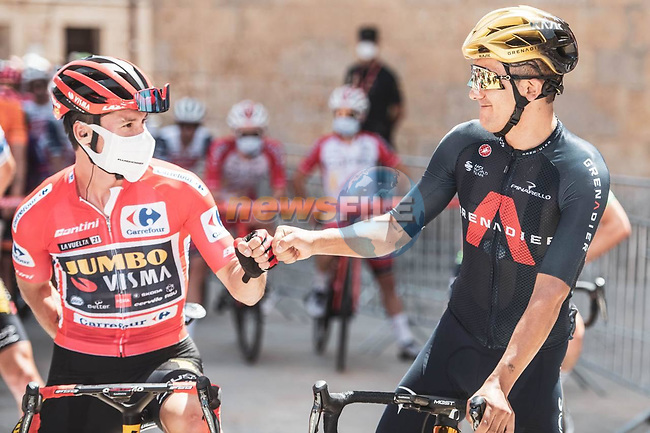 Olympic Gold Medalists Richard Carapaz (ECU) Ineos Grenadiers and Primoz Roglic (SLO) Jumbo-Visma before the start Stage 2 of La Vuelta d'Espana 2021, running 166.7km from Caleruega. VIII Centenario de Santo Domingo de Guzmán to Burgos. Gamonal, Spain. 15th August 2021.    <br /> Picture: Unipublic/Charly Lopez | Cyclefile<br /> <br /> All photos usage must carry mandatory copyright credit (© Cyclefile | Unipublic/Charly Lopez)