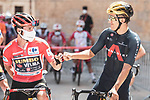 Olympic Gold Medalists Richard Carapaz (ECU) Ineos Grenadiers and Primoz Roglic (SLO) Jumbo-Visma before the start Stage 2 of La Vuelta d'Espana 2021, running 166.7km from Caleruega. VIII Centenario de Santo Domingo de Guzmán to Burgos. Gamonal, Spain. 15th August 2021.    <br /> Picture: Unipublic/Charly Lopez   Cyclefile<br /> <br /> All photos usage must carry mandatory copyright credit (© Cyclefile   Unipublic/Charly Lopez)