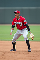 Carolina Mudcats first baseman Jake Gatewood (7) on defense against the Winston-Salem Dash at BB&T Ballpark on May 21, 2017 in Winston-Salem, North Carolina.  The Mudcats defeated the Dash 3-0 in 10 innings.  (Brian Westerholt/Four Seam Images)