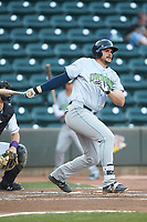 Anthony Miller (40) of the Lynchburg Hillcats follows through on his swing against the Winston-Salem Dash at BB&T Ballpark on May 3, 2018 in Winston-Salem, North Carolina. The Dash defeated the Hillcats 5-3. (Brian Westerholt/Four Seam Images)